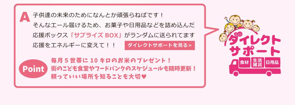 お菓子や日用品などを詰め込んだ 応援ボックス「サプライズBOX」がランダムに送られてます